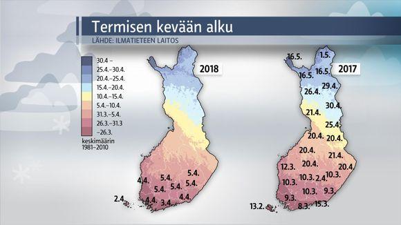 Säägrafiikkaa: Termisen kevään alku 2018 ja 2017.