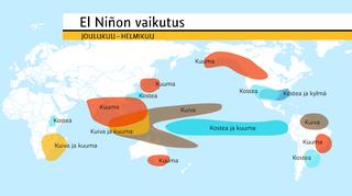 Grafiikka: El Niñon tyypillinen vaikutus eri puolilla maapalloa