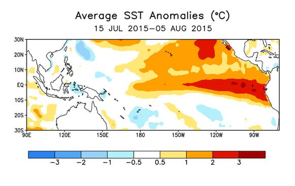 Grafiikka: Tyynen valtameren meriveden pintalämpötilan poikkeama keskimääräisestä 15.7.-5.8.2015