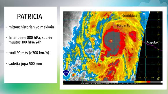 Sääkuva: Tietoa Patriciasta myrskyn ollessa voimakkaimmillaan