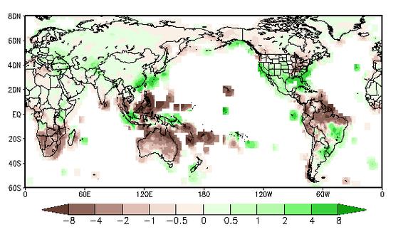 Sademäärien ennustettu poikkeama keskiarvosta alkuvuonna 2016