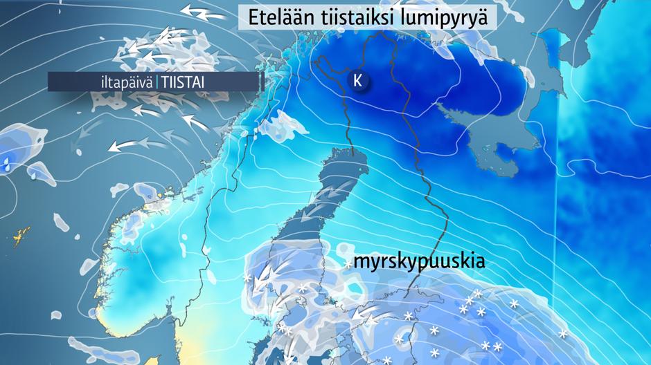 Tiistaiksi lumipyryä ja myrskypuuskia – ajokeli etelässä erittäin huono | Sää | yle.fi