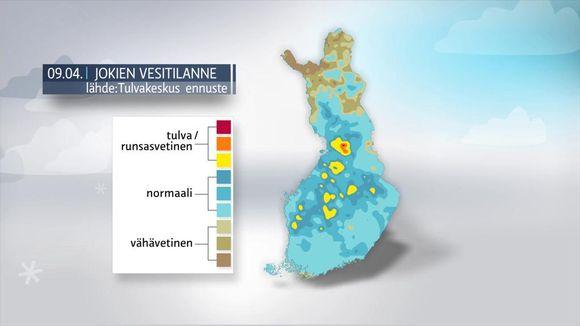 Säägrafiikkaa: Jokien vesitilanne 9.4.2016