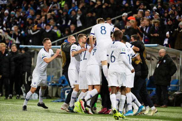 Huuhkajat Liechtenstein-ottelussa 2019.