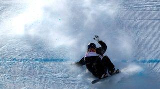 Enni Rukajärven ensimmäinen lasku slopestylen finaalissa päättyi kaatumiseen.