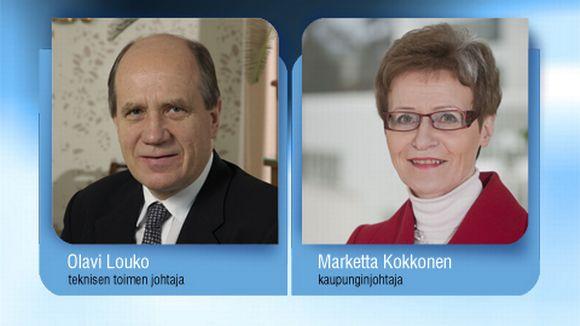 Teknisen toimen johtaja Olavi Louko ja kaupunginjohtaja Marketta Kokkonen.