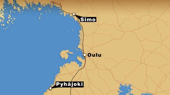 Oulun alueen kartta, jossa merkitty Simo ja Pyhäjoki.