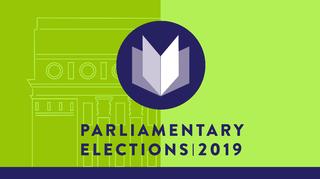 Eduskuntavaalilogo Englanniksi 2019