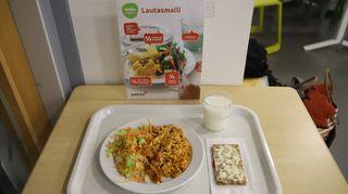 Malliateria Hämeenlinnan yhteiskoulun ruokalassa
