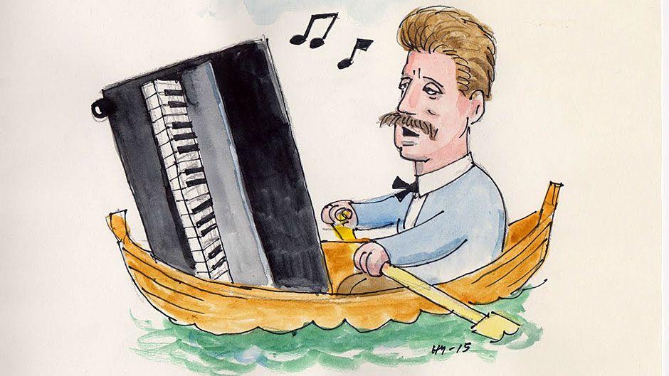 Mies soutuveneessä pianon kanssa.