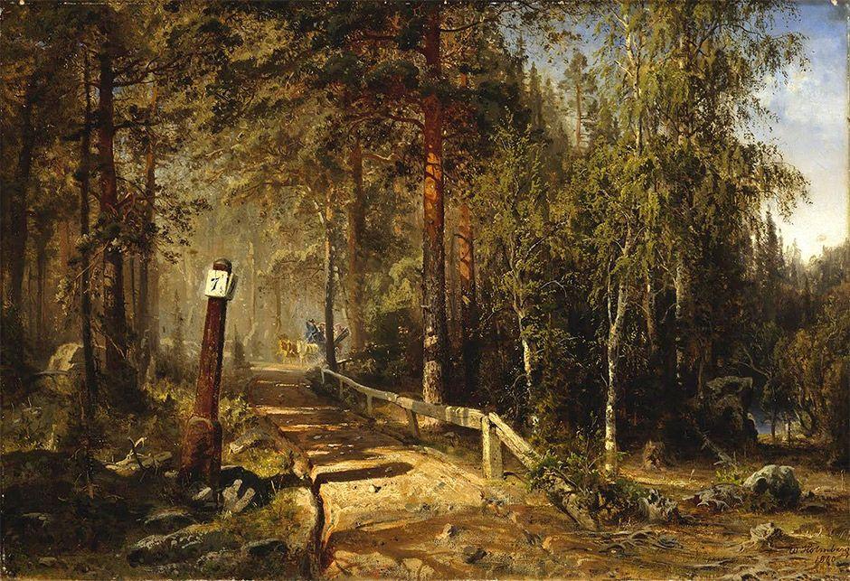 Vuonna 1860 maalattu maisemateos, joka kuvaa postitietä metsän siimeksessä
