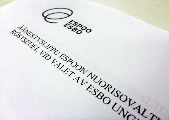 Espoon nuorisovaltuuston vaalien äänestyslippu