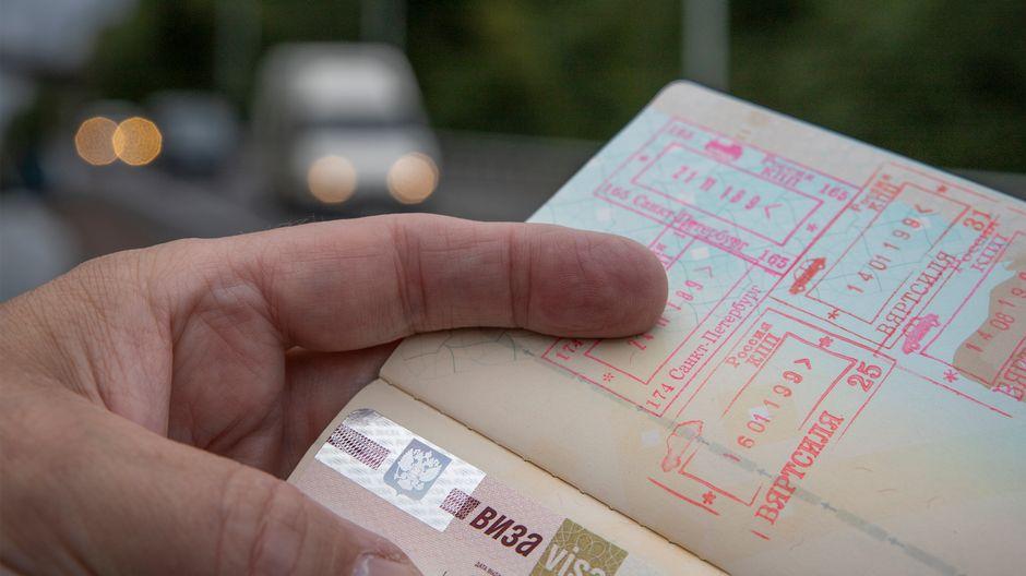 Passi, jossa leimoja ja viisumi Venäjälle.