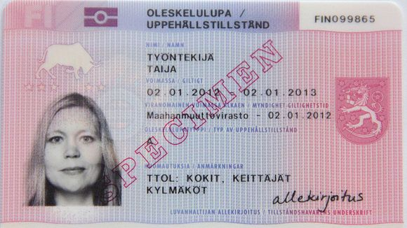 A sample residence permit card