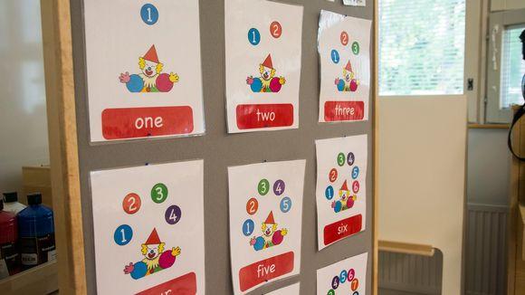 Kangastaululla värikkäitä opetustauluja, joissa klovni ja eri määrä numeroita englannin kielellä.
