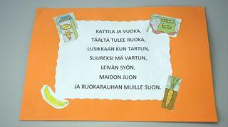 Teksti ruokalorusta, joka luetaan päiväkodissa ennen lounasta