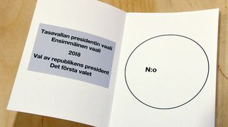 Presidentinvaalien äänestyslipuke.