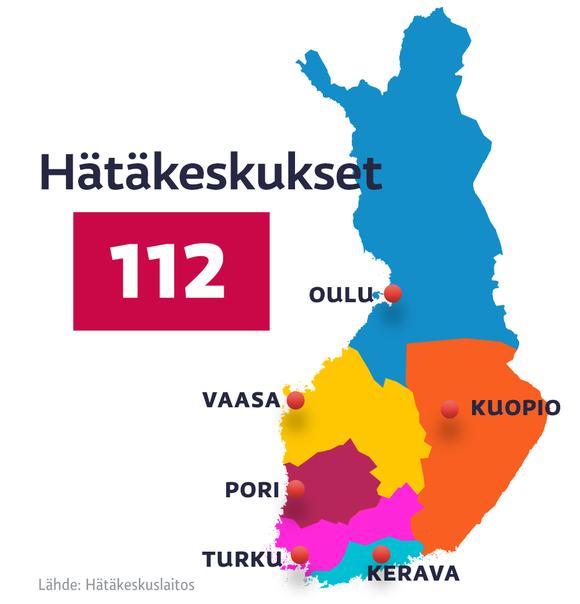 Hätäkeskuksien aluejako -kartta.