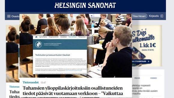 Kuvakaappaus Helsingin Sanomien verkkosivulta.