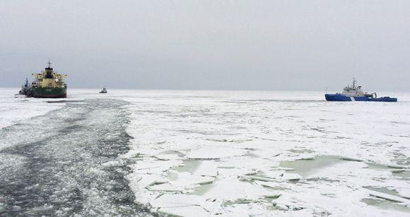 Merivartioston kuva tapahtumapaikalta jäänmurtaja Nordican kannelta perjantaina 9. maaliskuuta.