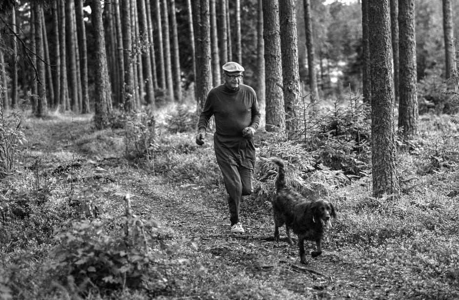 Presidentti Urho Kekkonen ulkoilee koiran kanssa Kultarannassa.