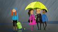 Grafiikka: kolme kaverusta sateenvarjon alla ja yksinäinen tyttö sateessa.
