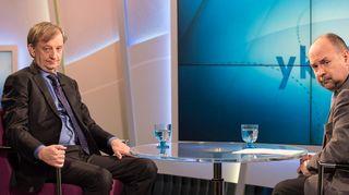 Harry Harkimo Jari Korkin haastateltavana TV1:n Ykkösaamussa 21. huhtikuuta.