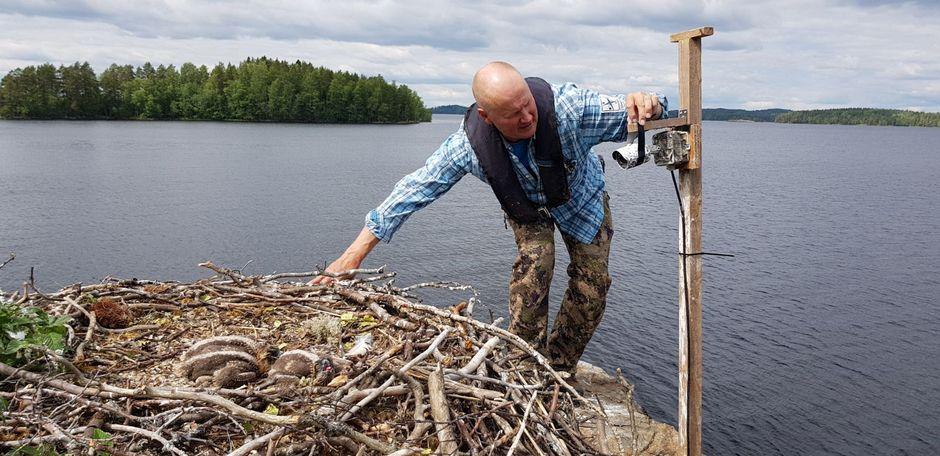 Juha Taskinen on asentamassa Sääksikameraa.