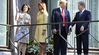 Melania Trump, Jenni Haukio, Donald Trump ja Sauli Niinistö tapasivat Mäntyniemessä.