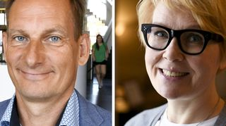 Alma Median toimitusjohtaja Kai Telanne ja valtioneuvoston viestintäjohtaja Päivi Anttikoski.