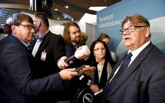 Ulkoministeri Timo Soini puhui medialle Suomen ulkomaanedustustojen suurlähettiläiden vuosittaisessa kokouksessa Helsingissä maanantaina.