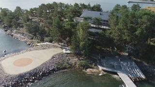 Airiston Helmi -yrityksen omistama Säkkiluoto kuvattuna ilmasta.