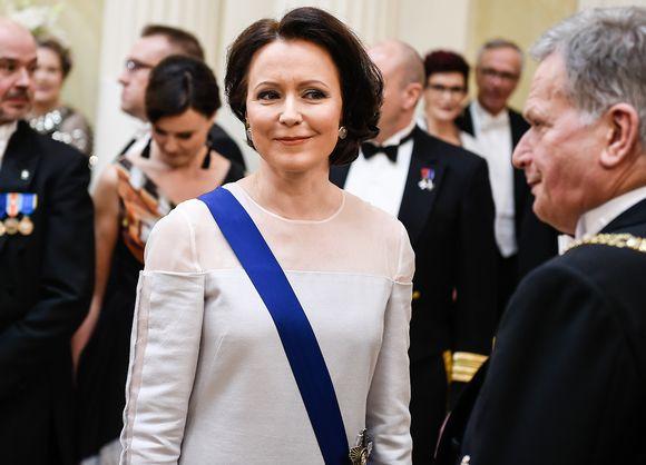 Jenni Haukio itsenäisyyspäivän vastaanotolla Helsingissä.