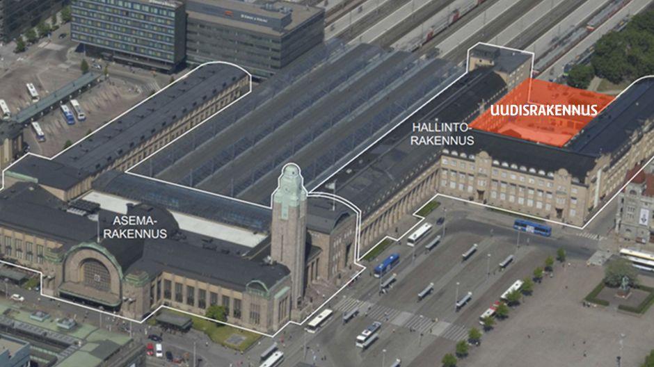 Rautatieaseman tulevan hotellin uudisrakennuksen paikka