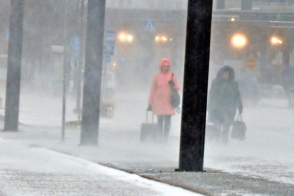 Matkustajia Helsingin Länsisatamassa Helsingissä 2. tammikuuta 2019.