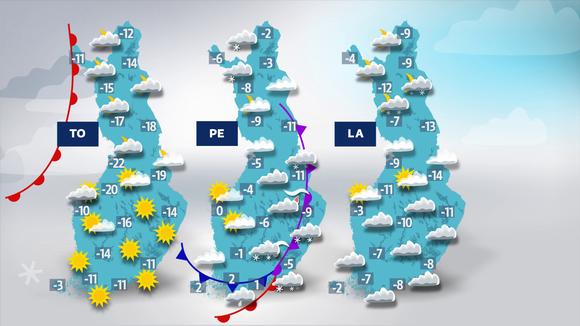 Sääennustekartat torstaista lauantaihin.