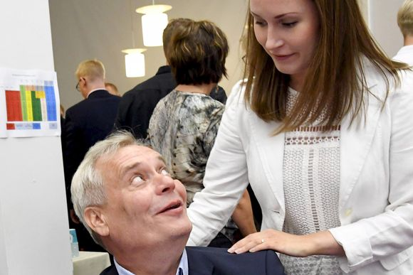 SDP:n puheenjohtaja Antti Rinne ja varapuheenjohtaja Sanna Marin.