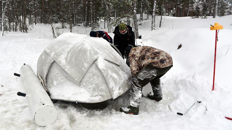 Kolme ihmistä saimaannorpan keinopesän ympärillä. Ympärillä näkyy metsää ja lunta.