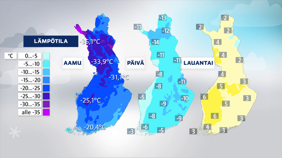 Kolme sääkarttaa, joissa näkyy lämpötilojen muutos.
