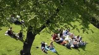Ihmiset viettävät lämmintä kesäpäivää Esplanadin puistossa Helsingissä.