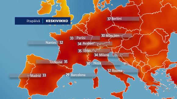 Euroopan Lämpötilat 26. kesäkuuta 2019.