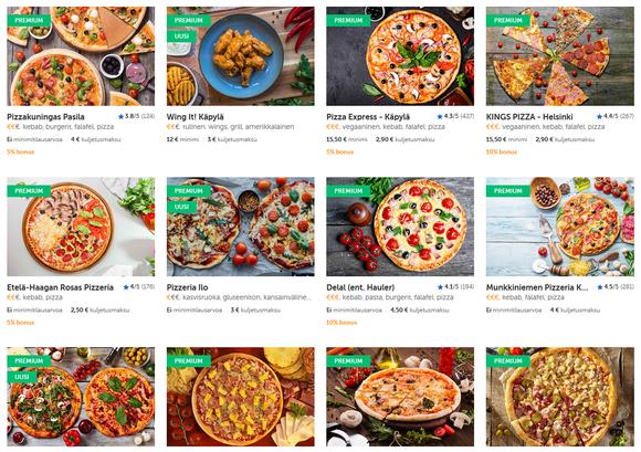 Kuvakaappaus Pizza-onlinen sivustolta