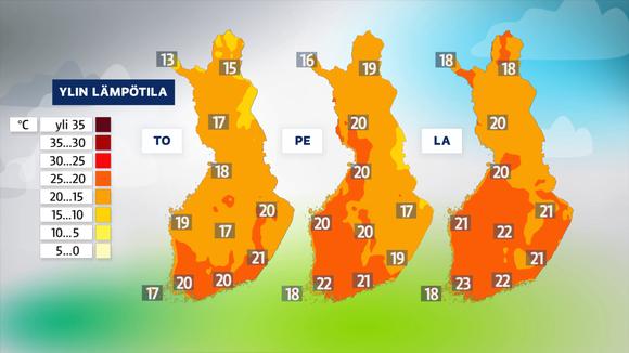 Ylin lämpötila torstai, perjantai ja lauantai