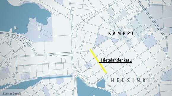 Kartta Helsingin ammuskelutapauksesta tiistaina 23. heinäkuuta 2019.