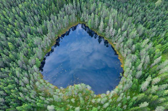 Ilmakuva sydämen muotoisesta lammesta metsässä