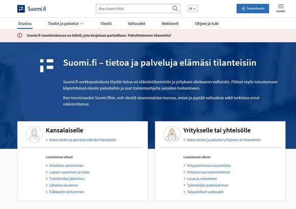 Julkiset verkkopalvelut ovat palvelunestohyökkäyksen takia saavuttamattomissa. Hyökkäys aiheuttaa häiriöitä esimerkiksi Suomi.fi -tunnistautumiseen.