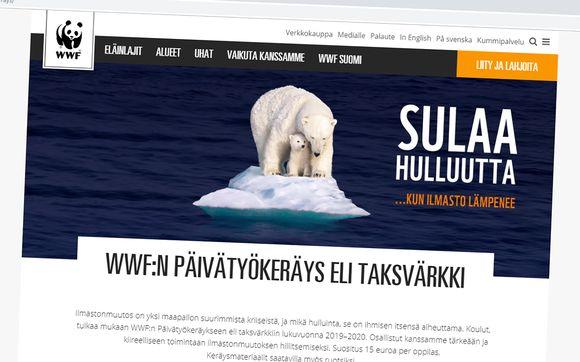 Kuvakaappaus WWF:n nettisivuilta, valokuvassa jääkarhuja pienellä lautalla