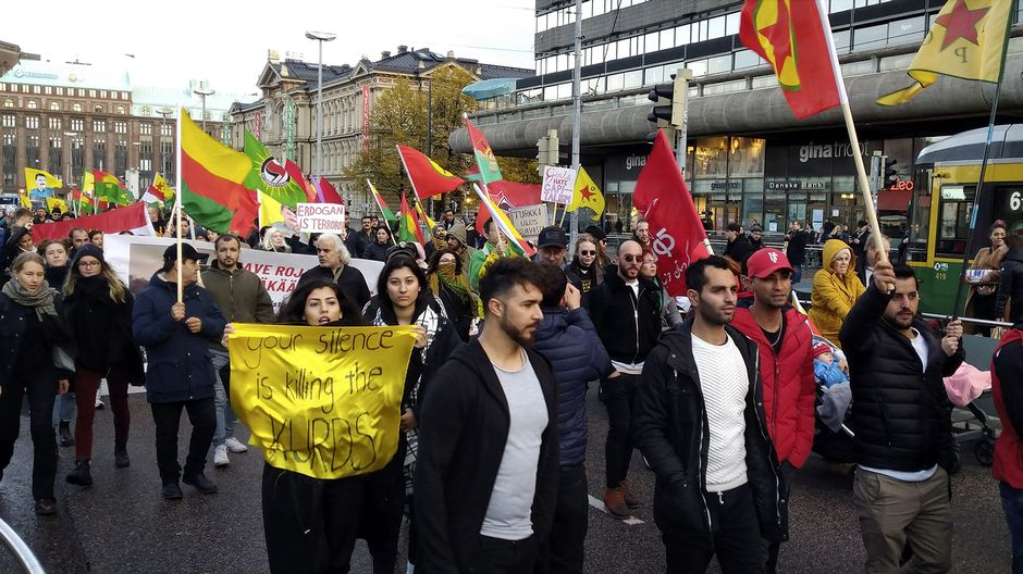 Police in Helsinki quell defiant Turkish invasion protesters