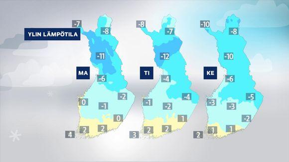 Sääennuste ylimmistä lämpötiloista tulevan viikon maanantaista keskiviikkoon.