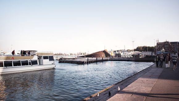 Pääsuunnittelija Jussi Palvan mukaan rakennus on saanut inspiraationsa Helsingin saaristosta ja etenkin Vallisaaresta. Havainnekuva.